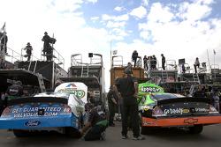 Cars of Carl Edwards and Brad Keselowski in the garage