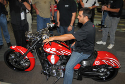 Juan Pablo Montoyta shown astride a specially built Yamaha Star Raider, which will be put in play by Montoya's foundation