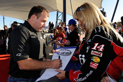 Ryan Newman signs autographs as he arrives at Las Vegas Motor Speedway for the Roast of four time NASCAR Champion Jimmie Johnson