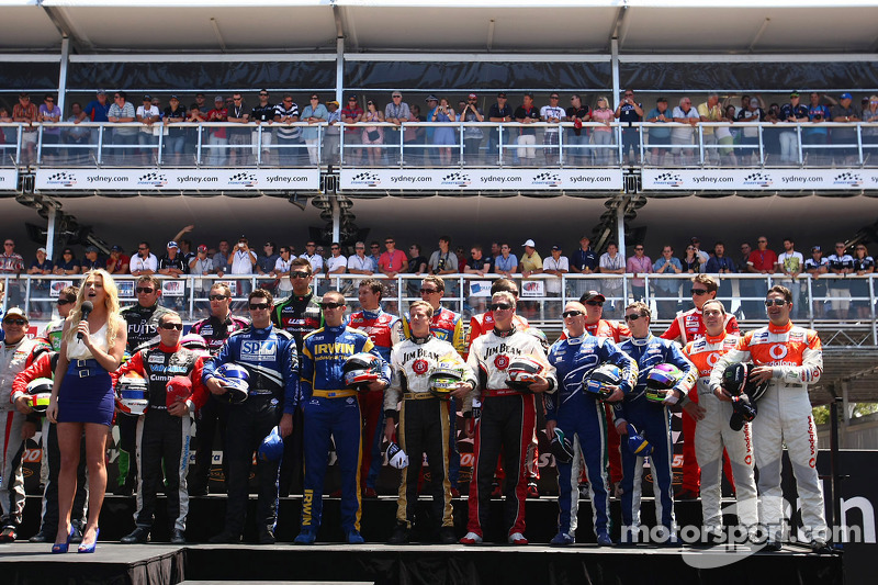 Drivers stand for the Australian National Anthem