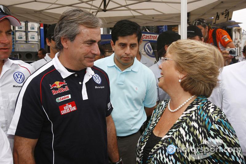 Carlos Sainz et Michelle Bachelet, Presidente du Chili