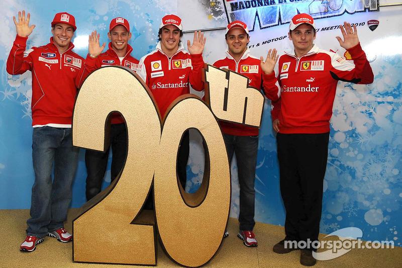 Nicky Hayden, Casey Stoner, Fernando Alonso, Felipe Massa y Giancarlo Fisichella