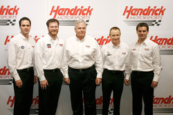 Jimmie Johnson, Dale Earnhardt Jr., RIck Hendrick, Mark Martin and Jeff Gordon pose for a team picture at Hendrick Motorsports