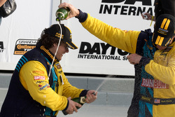 GS podium: class and overall winners Matt Plumb and Gianluis Bacardi celebrate with champagne