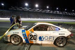 Pit stop for #20 Matt Connolly Motorsports Porsche GT3: Christophe Lapierre, Jos Menten, Markus Palttala, Oskar Slingerland
