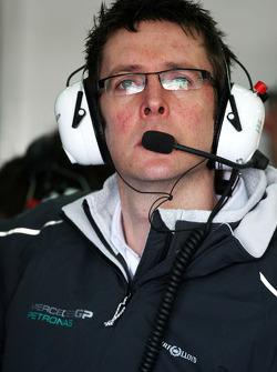 Andrew Shovlin, Mercedes GP, Senior Race Engineer to Michael Schumacher