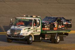 Wrecked car of Denny Hamlin, Joe Gibbs Racing Toyota