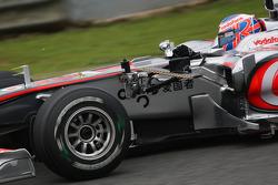 Jenson Button, McLaren Mercedes running with a device to meassure airflow