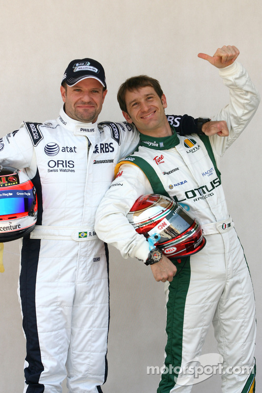 Rubens Barrichello, Williams F1 Team en Jarno Trulli, Lotus F1 Team
