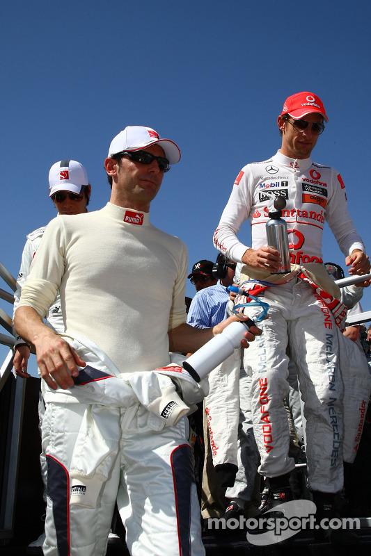Pedro de la Rosa, BMW Sauber F1 Team en Jenson Button, McLaren Mercedes