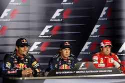 Pole winner Sebastian Vettel, Red Bull Racing, second place Mark Webber, Red Bull Racing, and third place Fernando Alonso, Scuderia Ferrari