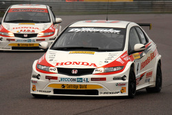 Matt Neal Honda Racing Honda Civic leads team mate Gordon Shedden
