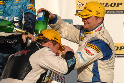 Team mates Mat Jackson Airwaves BMW and Steven Kane celebrate on the Podium