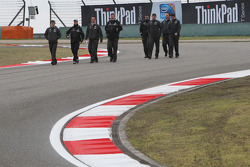 Michael Schumacher, Mercedes GP walk the circuit with Andrew Shovlin, Mercedes GP, Senior Race Engineer to Michael Schumacher, Ross Brawn, Brawn GP, Team Principal