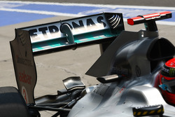 Michael Schumacher, Mercedes GP running a different rear wing system