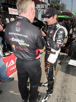 Alex Tagliani talking with a crew member