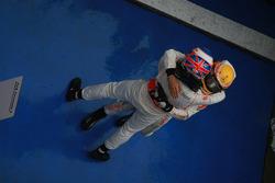 Race winner Jenson Button, McLaren Mercedes, celebrates with second place Lewis Hamilton, McLaren Mercedes