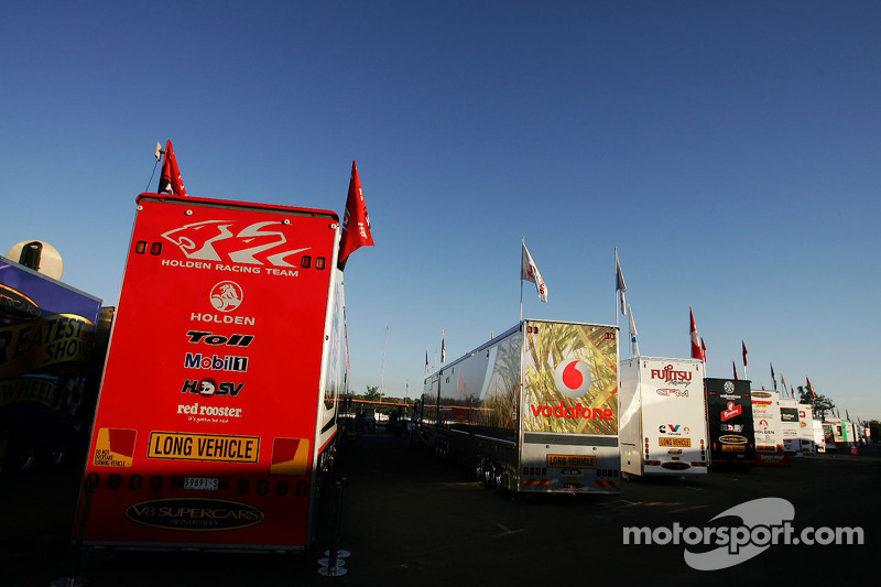 Supercar Transporters Lined Up In The Paddock At Queensland