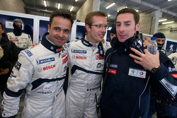 Pole winner Sébastien Bourdais celebrates with teammates Pedro Lamy and Simon Pagenaud