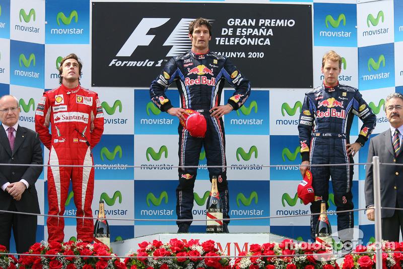 2010: 1. Mark Webber, 2. Fernando Alonso, 3. Sebastian Vettel
