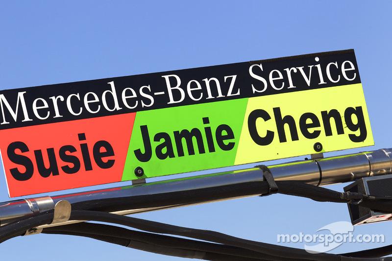 Pitbord Susie Stoddart, Persson Motorsport, Jamie Green, Persson Motorsport en Congfu Cheng, Persson Motorsport