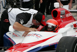 A.J. Foyt IV, A.J. Foyt Enterprises receives qualifying instructions from Brian Barnhardt, President of Competition & Racing Operations