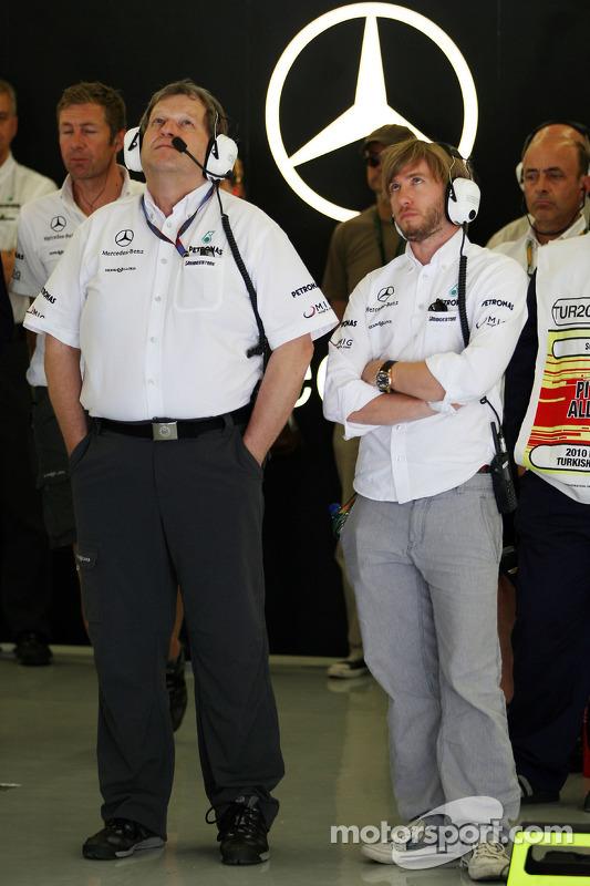 Norbert Haug, Mercedes, Motorsport chief, Nick Heidfeld, testrijder, Mercedes GP