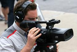 A TV camera man with a 3D camera