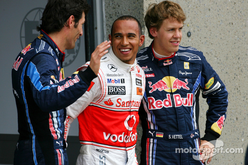 Sebastian Vettel, Red Bull Racing, Lewis Hamilton, McLaren Mercedes en Mark Webber, Red Bull Racing