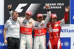 Podium: race winner Lewis Hamilton, McLaren Mercedes, second place Jenson Button, McLaren Mercedes and third place Fernando Alonso, Scuderia Ferrari