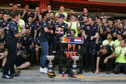 Race winner Max Verstappen, Red Bull Racing celebrates with team mate Daniel Ricciardo, Red Bull Racing and the team