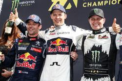 Podium: pemenang Mattias Ekstrテカm, EKS RX, peringkat kedua Sテゥbastien Loeb, Team Peugeot Hansen, peringkat ketiga Petter Solberg, Petter Solberg World RX Team
