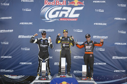 Podium: winner Tanner Foust, second place Patrick Sandell, third place Brian Deegan