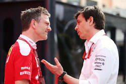 James Allison, Ferrari Chassis Technical Director with Toto Wolff, Mercedes AMG F1 Shareholder and Executive Director