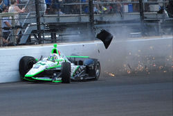 Sage Karam, Dreyer & Reinbold Racing Chevrolet crash