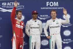 Pole for Lewis Hamilton, Mercedes AMG F1 W07 , 2nd for Nico Rosberg, Mercedes AMG Petronas F1 W07 and 3rd for Sebastian Vettel, Scuderia Ferrari SF16-H