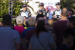 Sébastien Ogier, Volkswagen Motorsport; Thierry Neuville, Hyundai Motorsport; Jari-Matti Latvala, Volkswagen Motorsport