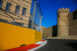 Baku city circuit at turn 11 with the castle
