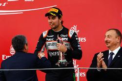 Sergio Perez, Sahara Force India F1 celebrates his third position on the podium