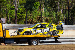 crashed car of Lee Holdsworth, Team 18 Holden