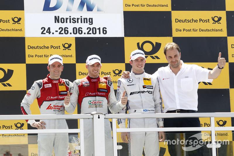 Podio: Ganador de la carrera Edoardo Mortara, Audi Sport Team Abt Sportsline, Audi RS 5 DTM; segundo lugar Jamie Green, Audi Sport Team Rosberg, Audi RS 5 DTM; tercer lugar Paul Di Resta (GBR) Mercedes-AMG Team HWA, Mercedes-AMG C63 DTM; Thomas Biermaier,