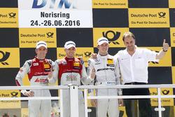 Podium: Sieger Edoardo Mortara, Audi Sport Team Abt Sportsline, Audi RS 5 DTM; 2. Jamie Green, Audi Sport Team Rosberg, Audi RS 5 DTM; 3. Paul Di Resta (GBR) Mercedes-AMG Team HWA, Mercedes-AMG C63 DTM; Thomas Biermaier, Sportdirektor Audi Team Abt Sportsl