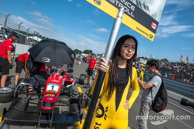 Grid girl, Lance Stroll, Prema Powerteam Dallara F312 - Mercedes-Benz