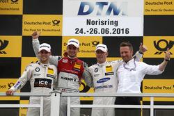 Podium: Race winner Nico Müller, Audi Sport Team Abt Sportsline, Audi RS 5 DTM; second place Tom Blomqvist, BMW Team RBM, BMW M4 DTM; third place Maxime Martin, BMW Team RBM, BMW M4 DTM;  Michael Seifert (GER) Team manager Abt Sportsline