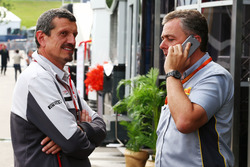 (L to R): Guenther Steiner, Haas F1 Team Prinicipal with Mario Isola, Pirelli Racing Manager