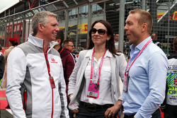 (L to R): Patrick Allen, Silverstone Managing Director on the grid with Lady Sarra Hoy, and Sir Chris Hoy,