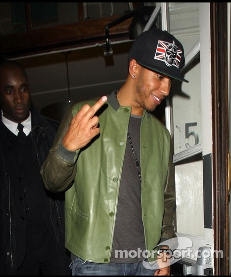 Lewis Hamilton Gives The Finger