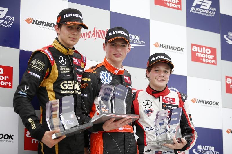 Podium at Norisring: Esteban Ocon, Max Verstappen, and Santino Ferrucci