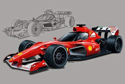 Rendering of a closed cockpit Ferrari F1