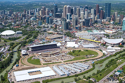 Calgary, Alberta, Canada, seen from the east looking downtown over the Calgary Stampede Grounds